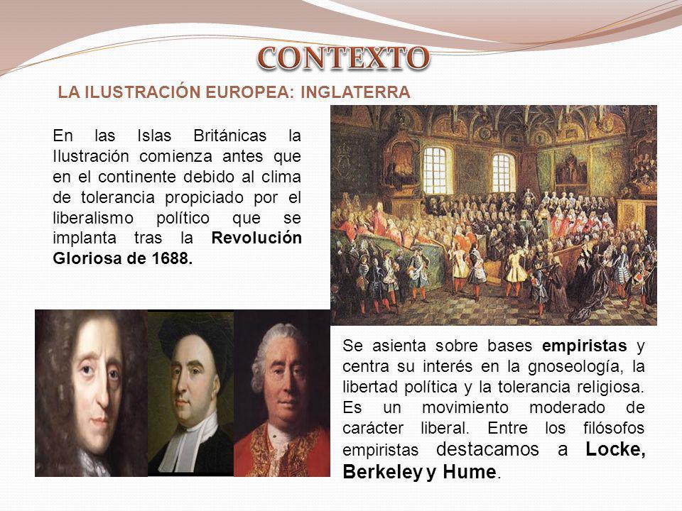 LA ILUSTRACIÓN EUROPEA: INGLATERRA Se asienta sobre bases empiristas y centra su interés en la gnoseología, la libertad política y la tolerancia relig