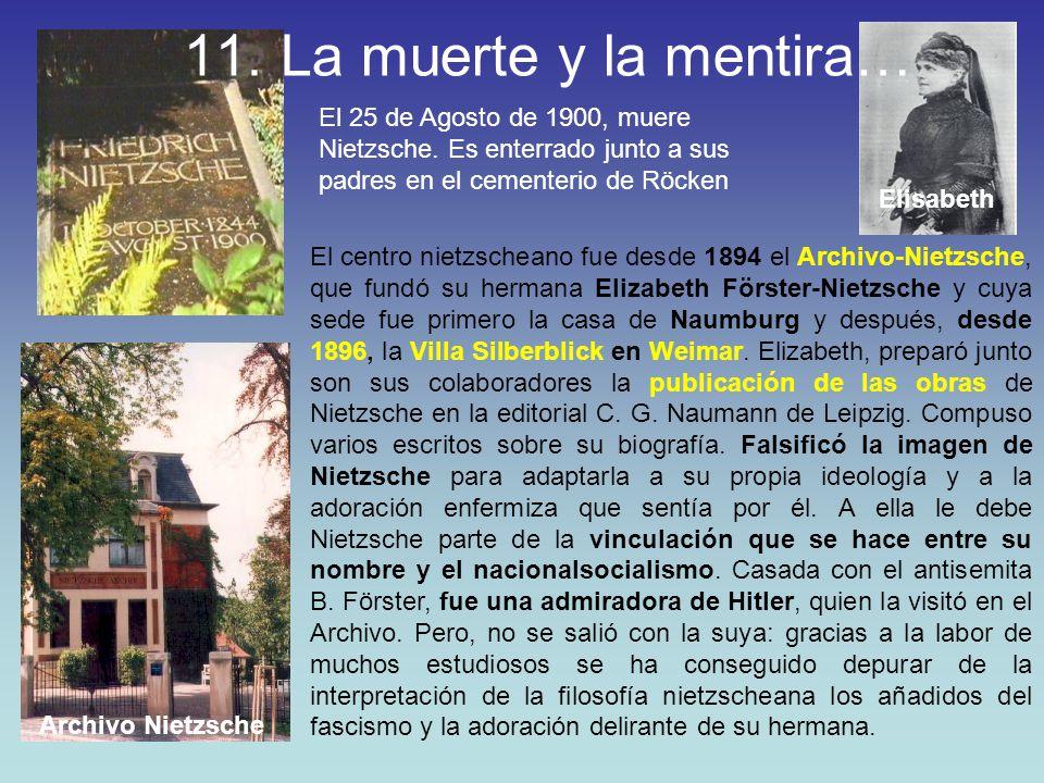 El 25 de Agosto de 1900, muere Nietzsche. Es enterrado junto a sus padres en el cementerio de Röcken El centro nietzscheano fue desde 1894 el Archivo-