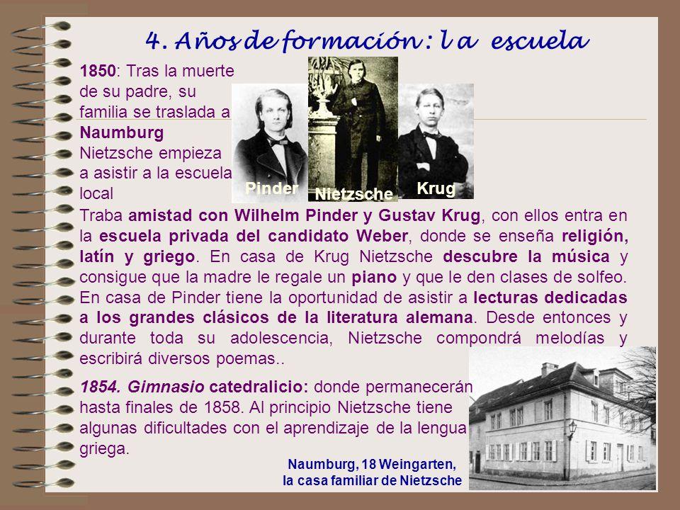 4. Años de formación : l a escuela Naumburg, 18 Weingarten, la casa familiar de Nietzsche Traba amistad con Wilhelm Pinder y Gustav Krug, con ellos en