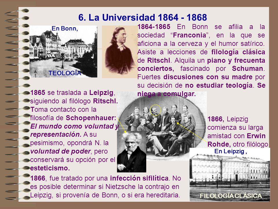 En Bonn, TEOLOGÍA 1866, Leipzig comienza su larga amistad con Erwin Rohde, otro filólogo 1864-1865 En Bonn se afilia a la sociedad Franconia, en la qu