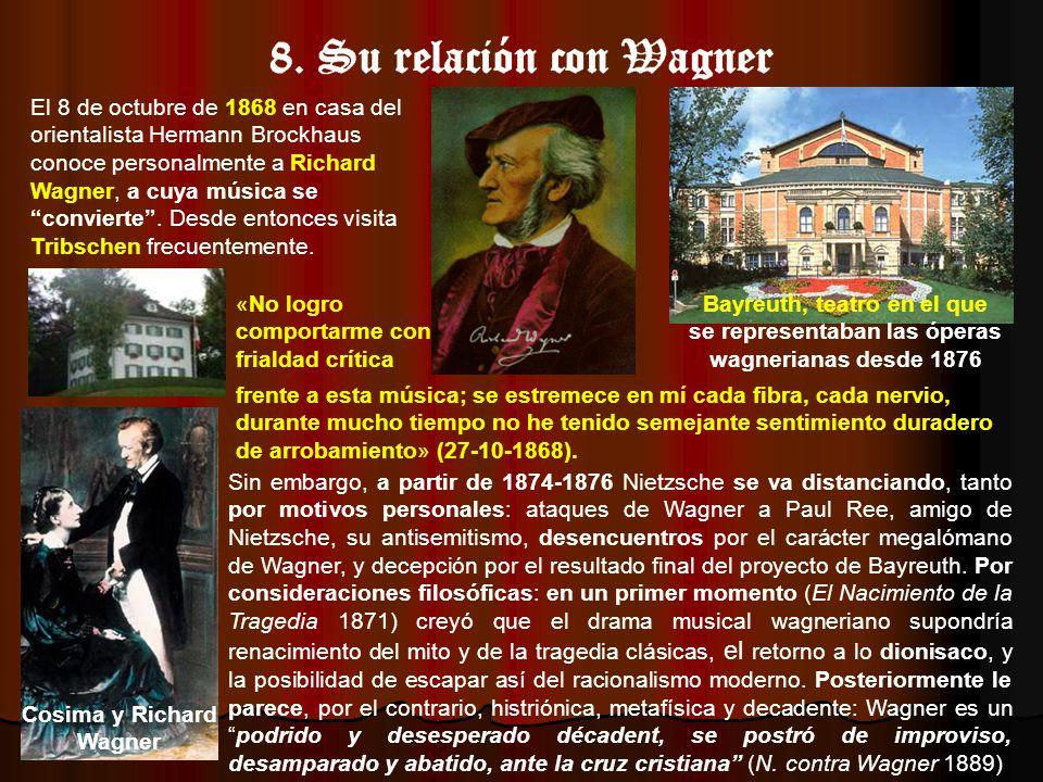 El 8 de octubre de 1868 en casa del orientalista Hermann Brockhaus conoce personalmente a Richard Wagner, a cuya música se convierte.