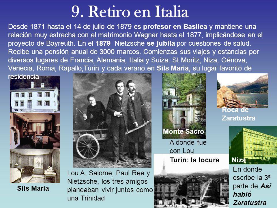 9. Retiro en Italia Turín: la locura Monte Sacro Niza Sils Maria Roca de Zaratustra Lou A. Salome, Paul Ree y Nietzsche, los tres amigos planeaban viv