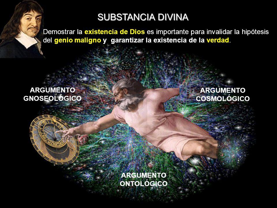 SUBSTANCIA DIVINA ARGUMENTO GNOSEOLÓGICO ARGUMENTO COSMOLÓGICO ARGUMENTO ONTOLÓGICO Demostrar la existencia de Dios es importante para invalidar la hi