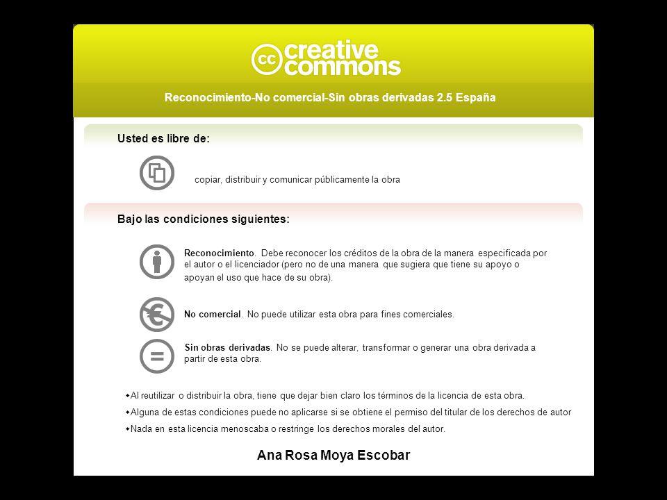 Usted es libre de: copiar, distribuir y comunicar públicamente la obra Bajo las condiciones siguientes: Reconocimiento. Debe reconocer los créditos de