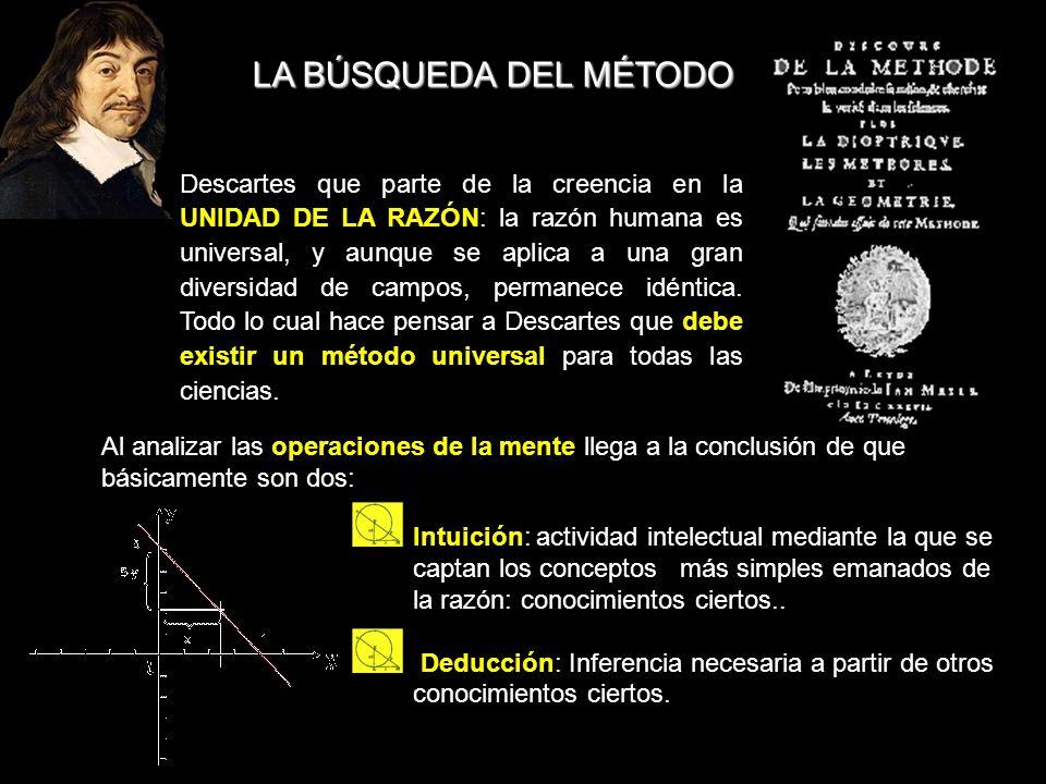 LA BÚSQUEDA DEL MÉTODO Descartes que parte de la creencia en la UNIDAD DE LA RAZÓN: la razón humana es universal, y aunque se aplica a una gran divers