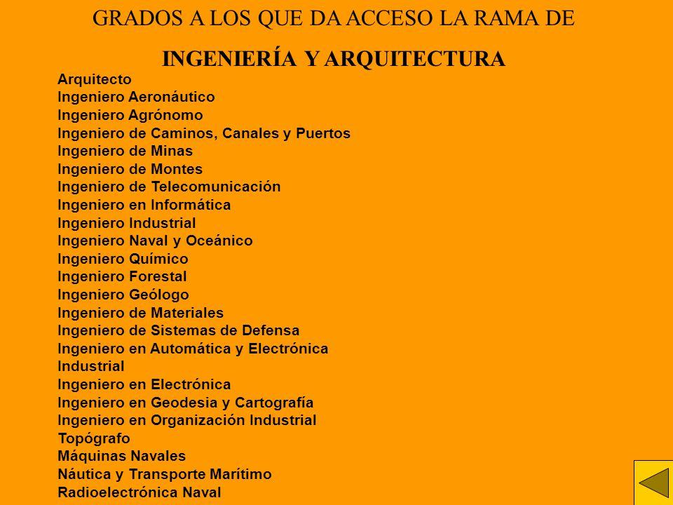 GRADOS A LOS QUE DA ACCESO LA RAMA DE INGENIERÍA Y ARQUITECTURA Arquitecto Ingeniero Aeronáutico Ingeniero Agrónomo Ingeniero de Caminos, Canales y Pu