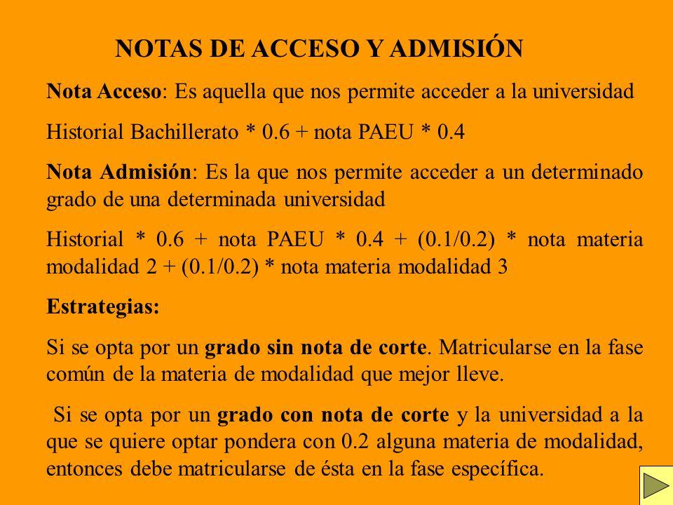 Nota Acceso: Es aquella que nos permite acceder a la universidad Historial Bachillerato * 0.6 + nota PAEU * 0.4 Nota Admisión: Es la que nos permite a