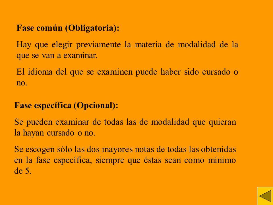 Fase común (Obligatoria): Hay que elegir previamente la materia de modalidad de la que se van a examinar. El idioma del que se examinen puede haber si