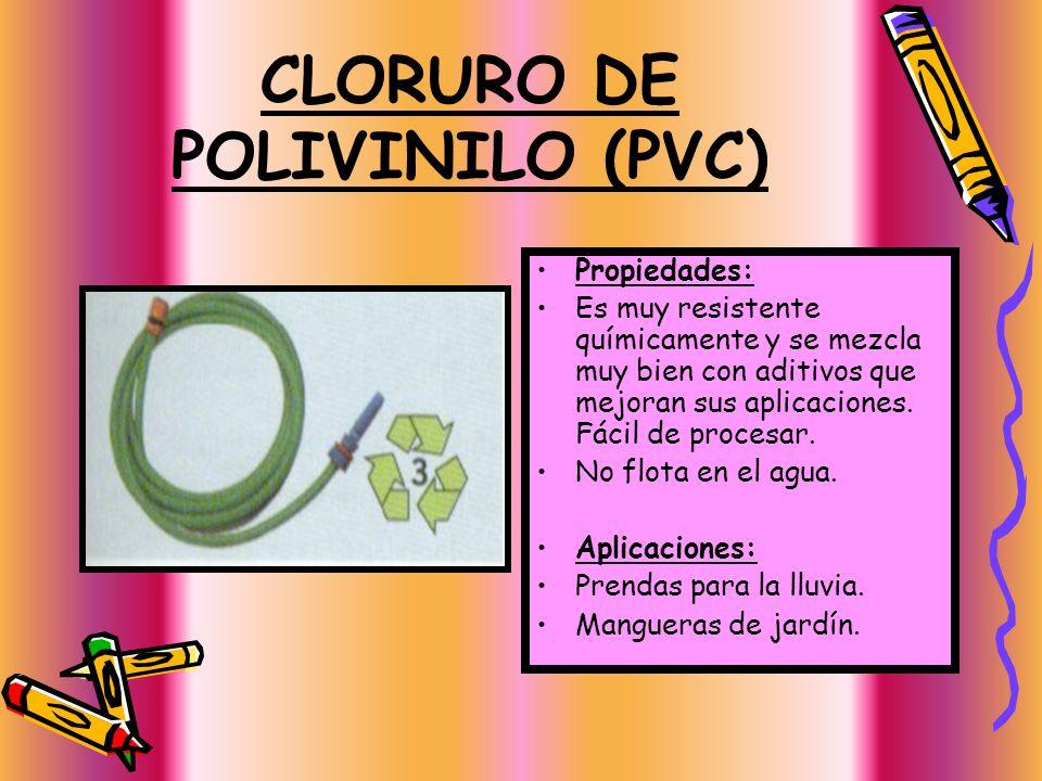 POLIPROPILENO (PP) Propiedades: Mas duro y menos flexible que el polietileno. Incoloro e inodoro. Resistente a la humedad y el calor. Flota en el agua
