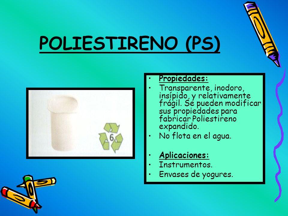 CLORURO DE POLIVINILO (PVC) Propiedades: Es muy resistente químicamente y se mezcla muy bien con aditivos que mejoran sus aplicaciones. Fácil de proce