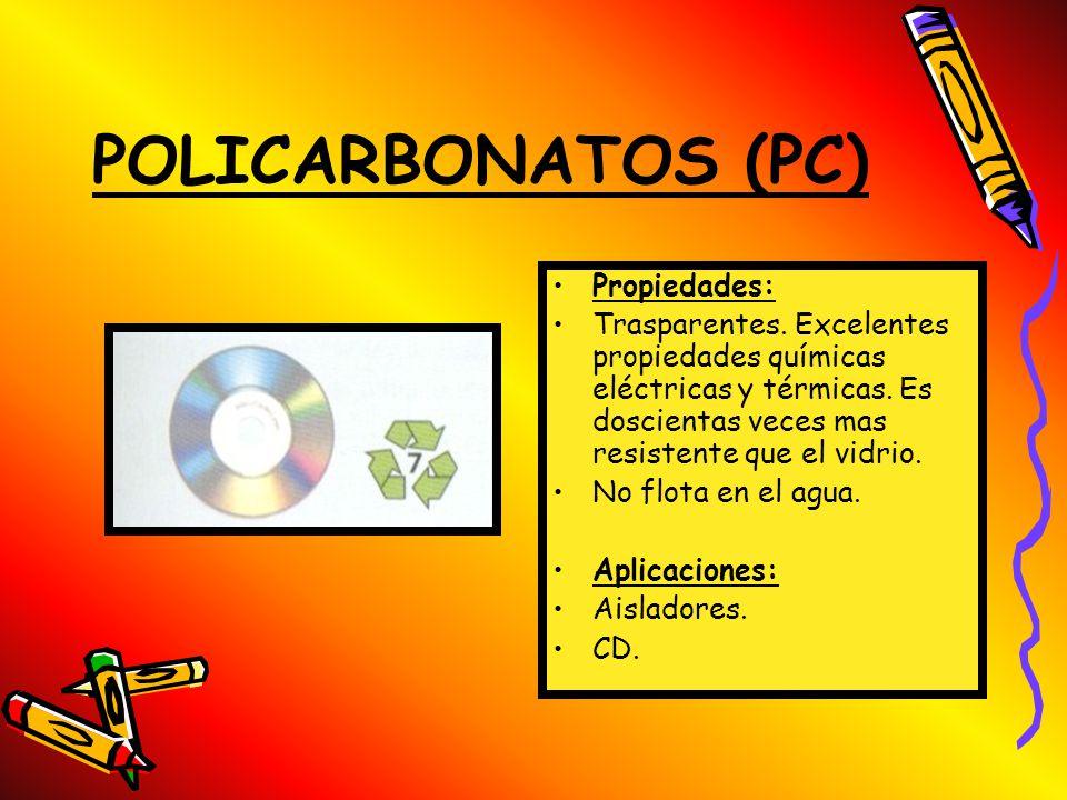 POLIETILENO TEREFTALADO (PET) Propiedades: Trasparente e impermeable a componentes gaseosos como el adhídrico carbónico de las bebidas refrescantes. N