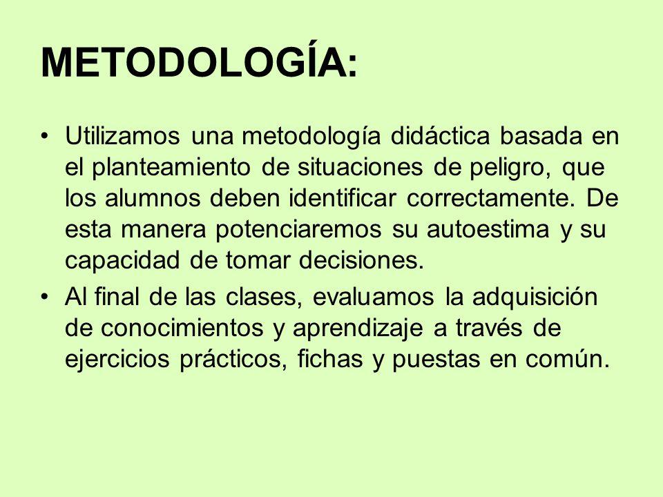 METODOLOGÍA: Utilizamos una metodología didáctica basada en el planteamiento de situaciones de peligro, que los alumnos deben identificar correctament
