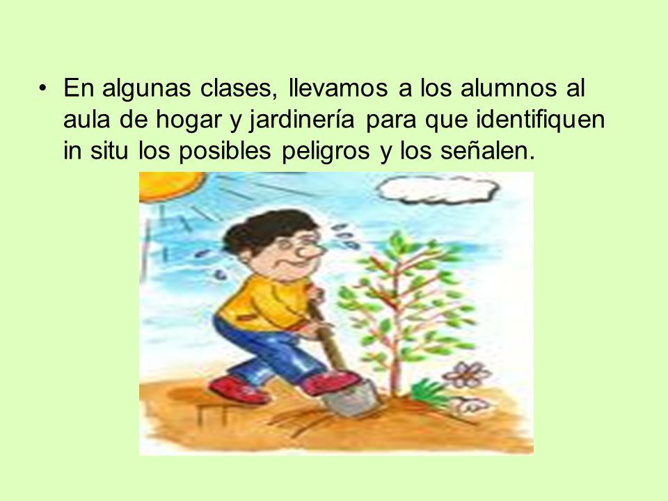 En algunas clases, llevamos a los alumnos al aula de hogar y jardinería para que identifiquen in situ los posibles peligros y los señalen.