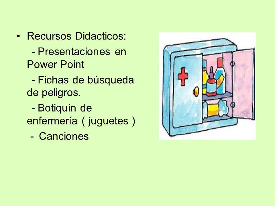 Recursos Didacticos: - Presentaciones en Power Point - Fichas de búsqueda de peligros. - Botiquín de enfermería ( juguetes ) -Canciones