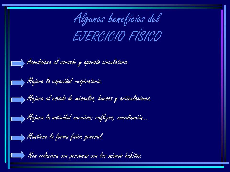 Algunos beneficios del EJERCICIO FÍSICO Acondiciona el corazón y aparato circulatorio.