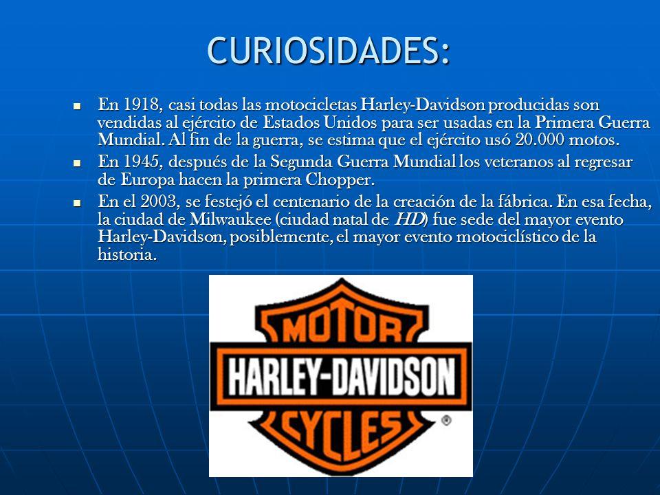 CURIOSIDADES: En 1918, casi todas las motocicletas Harley-Davidson producidas son vendidas al ejército de Estados Unidos para ser usadas en la Primera Guerra Mundial.