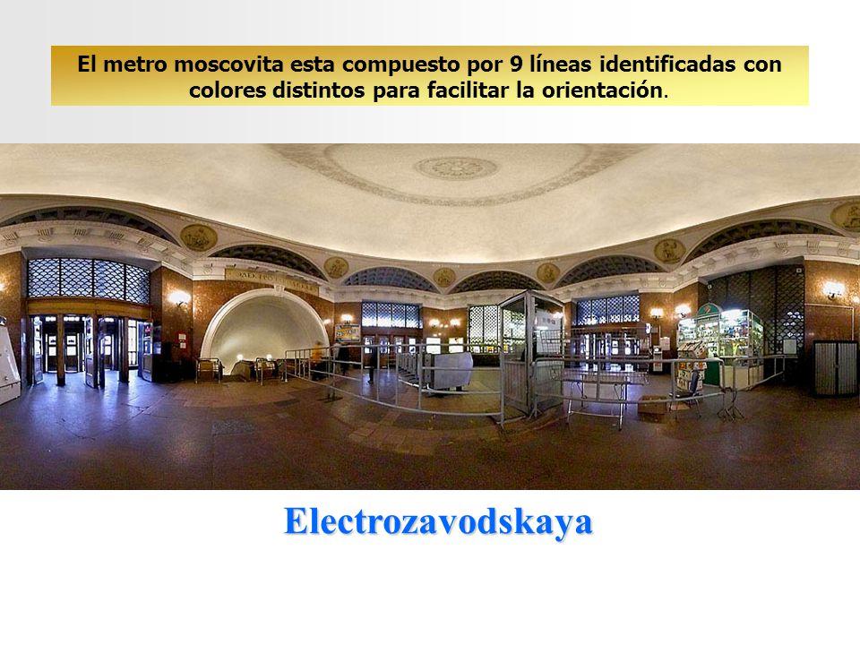 Electrozavodskaya El metro moscovita esta compuesto por 9 líneas identificadas con colores distintos para facilitar la orientación.