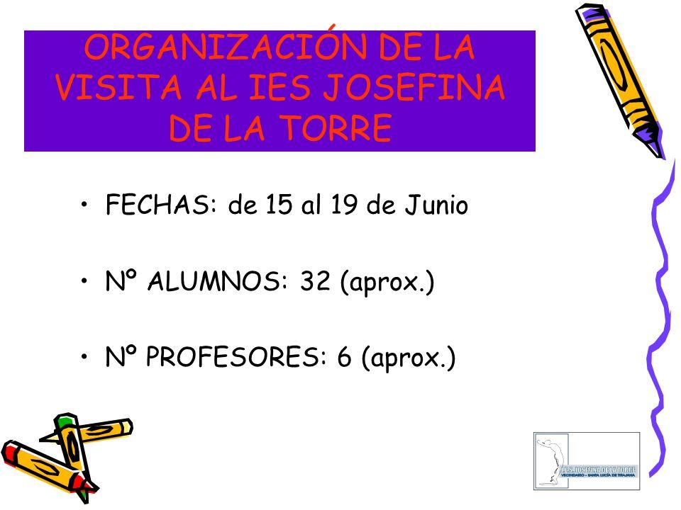 ORGANIZACIÓN DE LA VISITA AL IES JOSEFINA DE LA TORRE FECHAS: de 15 al 19 de Junio Nº ALUMNOS: 32 (aprox.) Nº PROFESORES: 6 (aprox.)