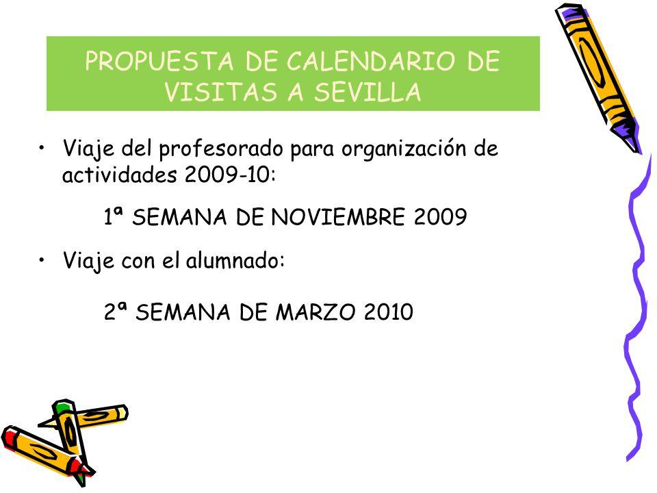 PROPUESTA DE CALENDARIO DE VISITAS A SEVILLA Viaje del profesorado para organización de actividades 2009-10: 1ª SEMANA DE NOVIEMBRE 2009 Viaje con el
