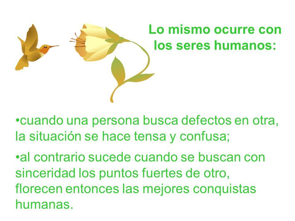 Lo mismo ocurre con los seres humanos: cuando una persona busca defectos en otra, la situación se hace tensa y confusa; al contrario sucede cuando se