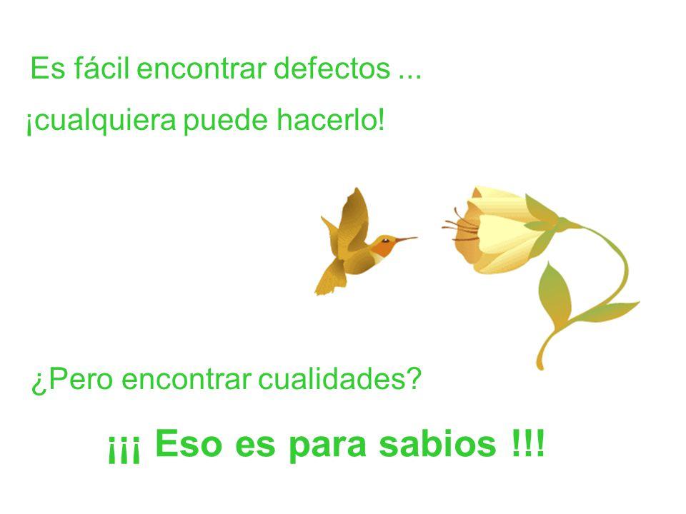 Es fácil encontrar defectos... ¿Pero encontrar cualidades? ¡¡¡ Eso es para sabios !!! ¡cualquiera puede hacerlo!