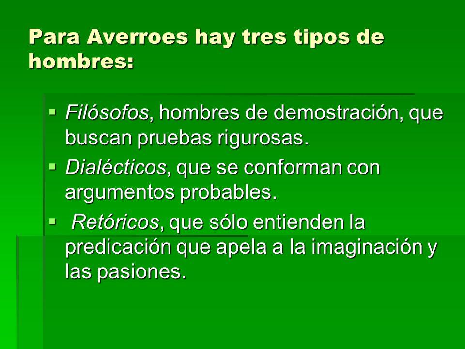 Para Averroes hay tres tipos de hombres: Filósofos, hombres de demostración, que buscan pruebas rigurosas. Filósofos, hombres de demostración, que bus