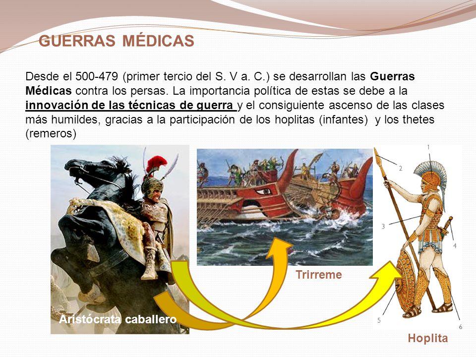 ECCLESIA LA BOULÉ TRIBUNALES POPULARES MAGISTRADOS TODOS LOS CIUDADANOS VOTAN LEYES E IMPUESTOS DECIDEN GUERRAS 500 MIEMBROS ACONSEJAN A LA ECCLESIA 6000 CIUDADANOS ELEGIDOS POR SORTEO JUZGAN DELITOS DIRIGEN LA POLÍTICA ELEGIDOS POR UN AÑO Pericles abrió el arcontado a las clases más bajas, y el tipo de democracia que promovió no era la representativa, sino la directa: cualquier ciudadano podía participar la Asamblea: Ecclesía DEMOCRACIA