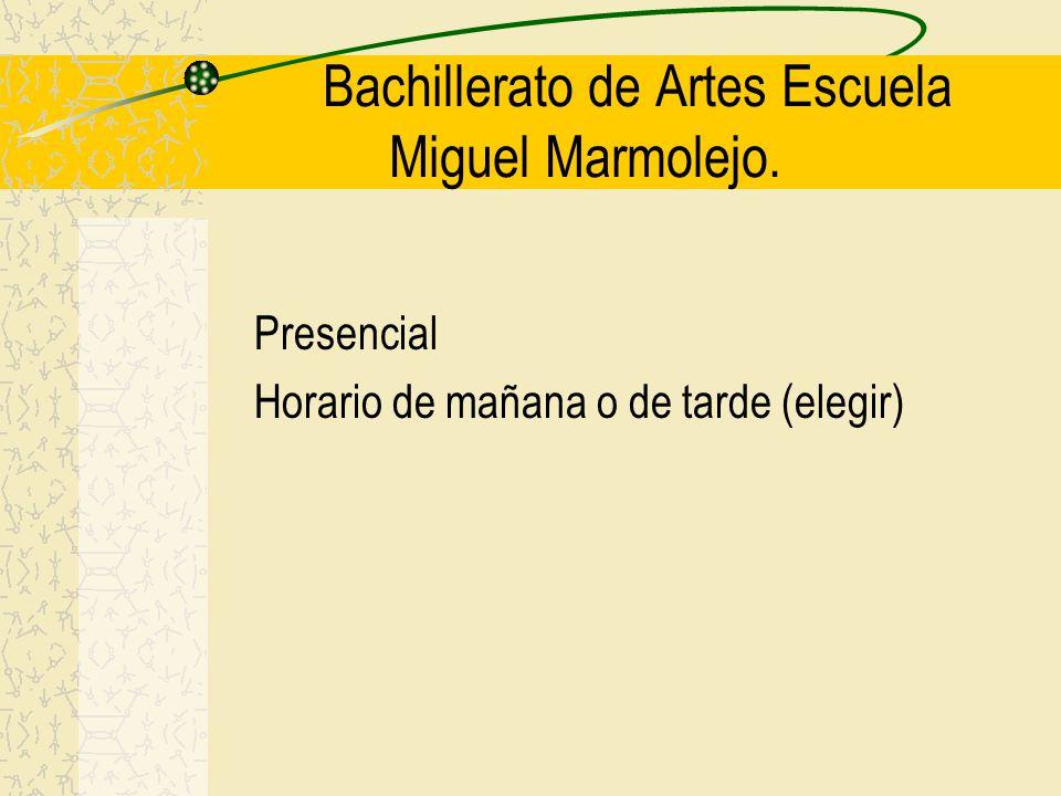 Bachillerato de Artes Escuela Miguel Marmolejo. Presencial Horario de mañana o de tarde (elegir)
