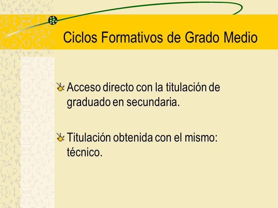 Ciclos Formativos de Grado Medio Acceso directo con la titulación de graduado en secundaria. Titulación obtenida con el mismo: técnico.