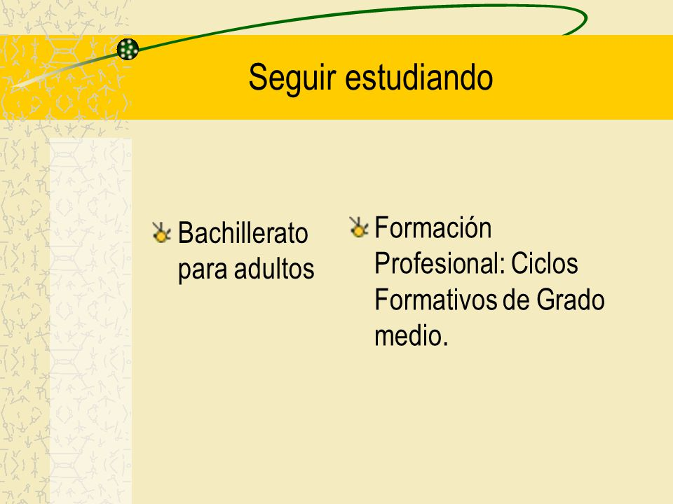 Seguir estudiando Bachillerato para adultos Formación Profesional: Ciclos Formativos de Grado medio.