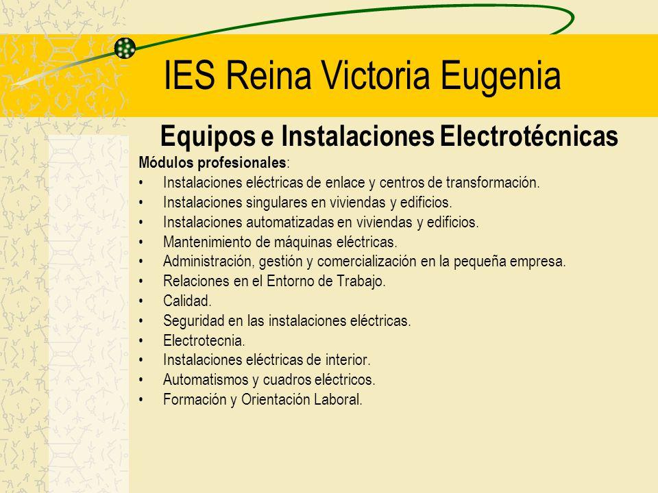 IES Reina Victoria Eugenia Equipos e Instalaciones Electrotécnicas Módulos profesionales : Instalaciones eléctricas de enlace y centros de transformación.