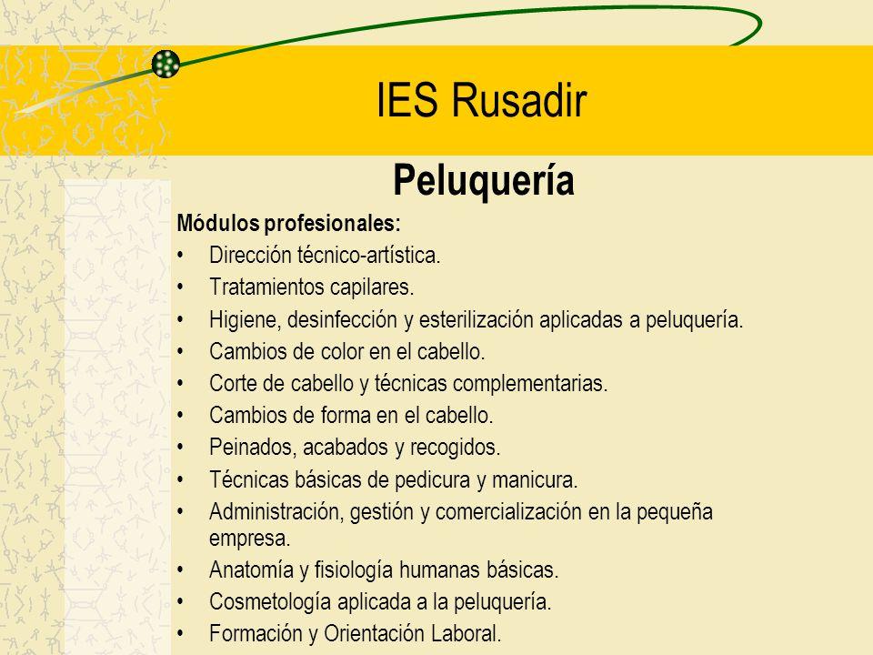 IES Rusadir Peluquería Módulos profesionales: Dirección técnico-artística. Tratamientos capilares. Higiene, desinfección y esterilización aplicadas a