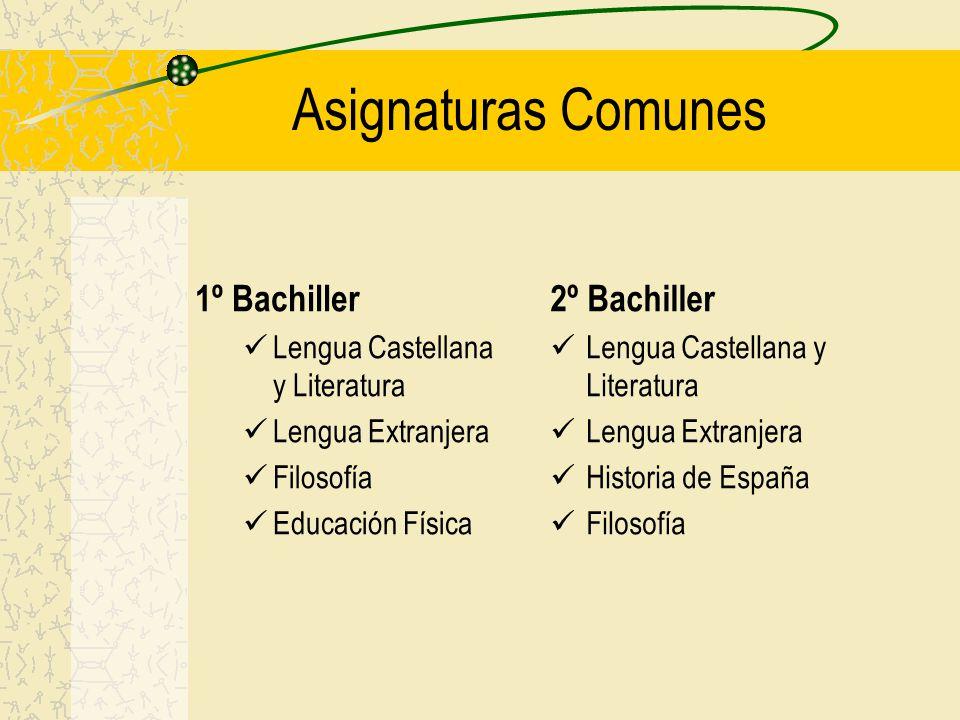 Asignaturas Comunes 1º Bachiller Lengua Castellana y Literatura Lengua Extranjera Filosofía Educación Física 2º Bachiller Lengua Castellana y Literatura Lengua Extranjera Historia de España Filosofía