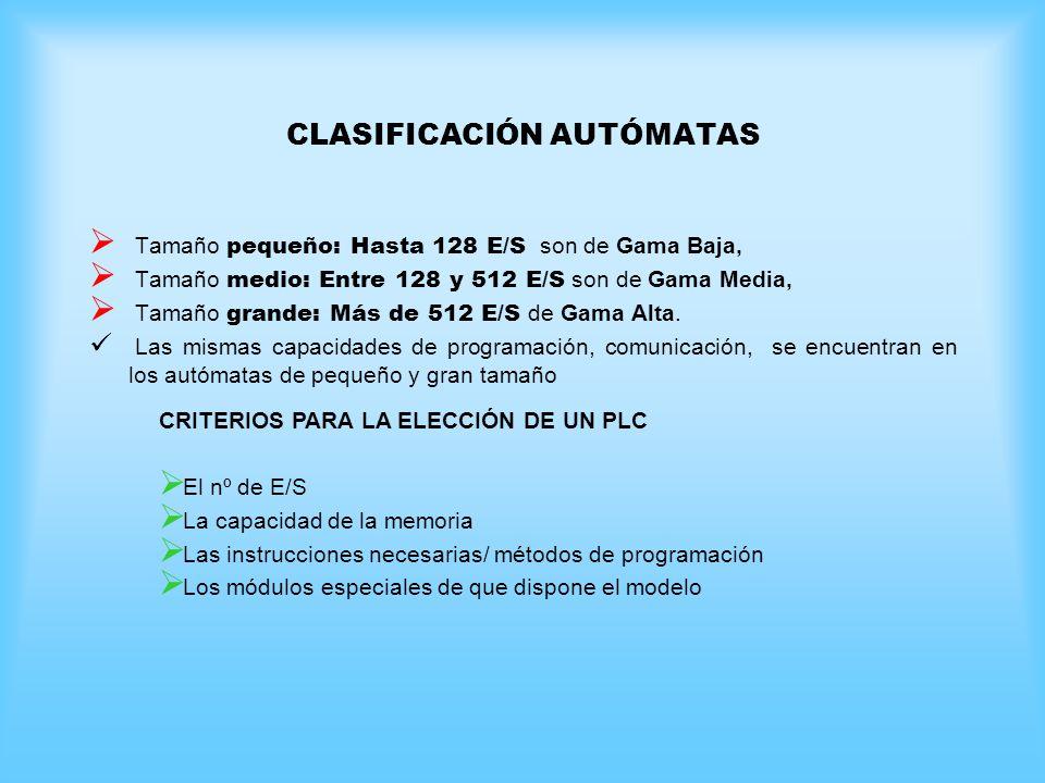 CLASIFICACIÓN AUTÓMATAS Tamaño pequeño: Hasta 128 E/S son de Gama Baja, Tamaño medio: Entre 128 y 512 E/S son de Gama Media, Tamaño grande: Más de 512 E/S de Gama Alta.