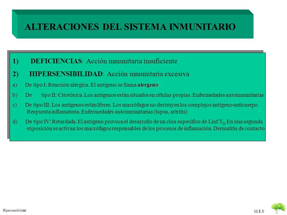 M.E.S ALTERACIONES DEL SISTEMA INMUNITARIO 1) DEFICIENCIAS: Acción inmunitaria insuficiente a) Inmunodeficiencia congénita. Puede afectar a defensas i