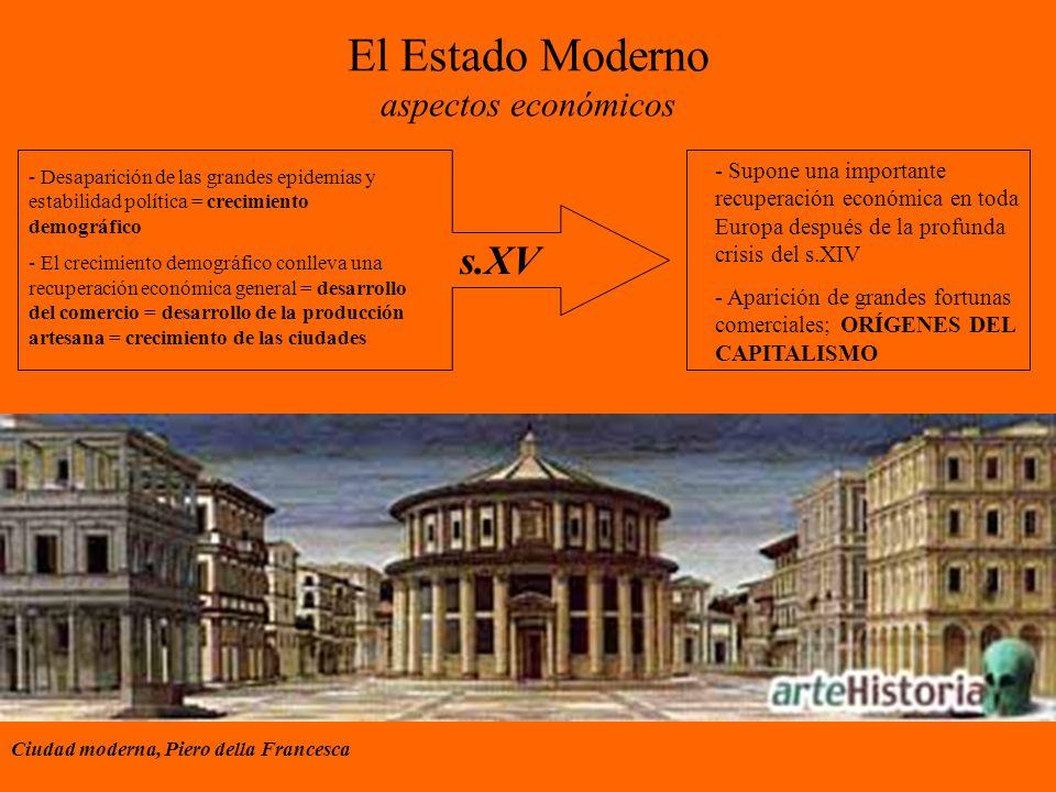 El Estado Moderno aspectos económicos - Supone una importante recuperación económica en toda Europa después de la profunda crisis del s.XIV - Aparició