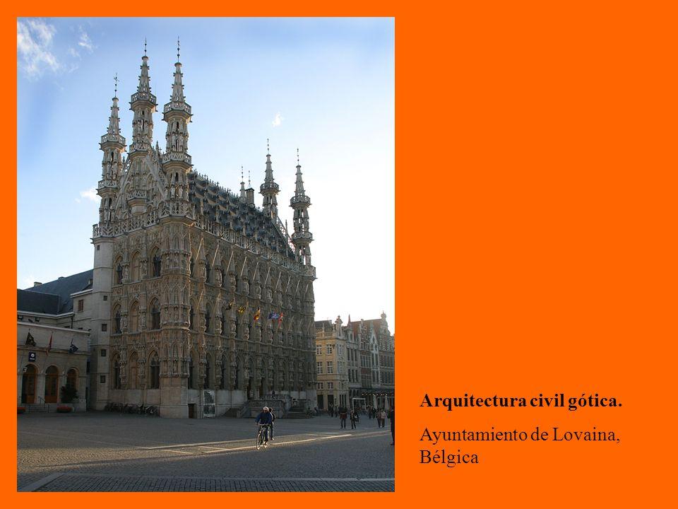 Arquitectura civil gótica. Ayuntamiento de Lovaina, Bélgica