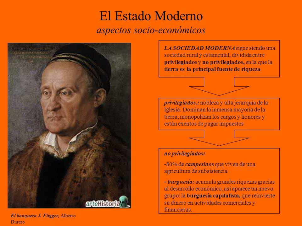 El Estado Moderno aspectos socio-económicos El banquero J. Függer, Alberto Durero LA SOCIEDAD MODERNA sigue siendo una sociedad rural y estamental, di