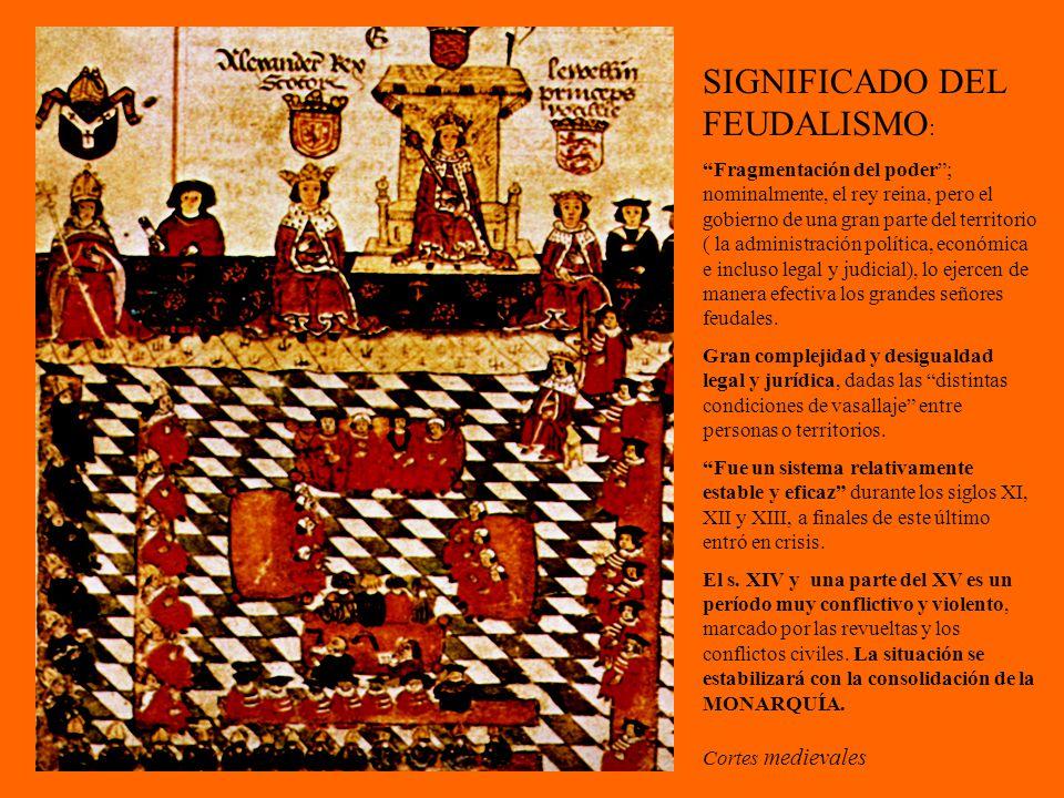 Cortes medievales SIGNIFICADO DEL FEUDALISMO : Fragmentación del poder; nominalmente, el rey reina, pero el gobierno de una gran parte del territorio ( la administración política, económica e incluso legal y judicial), lo ejercen de manera efectiva los grandes señores feudales.
