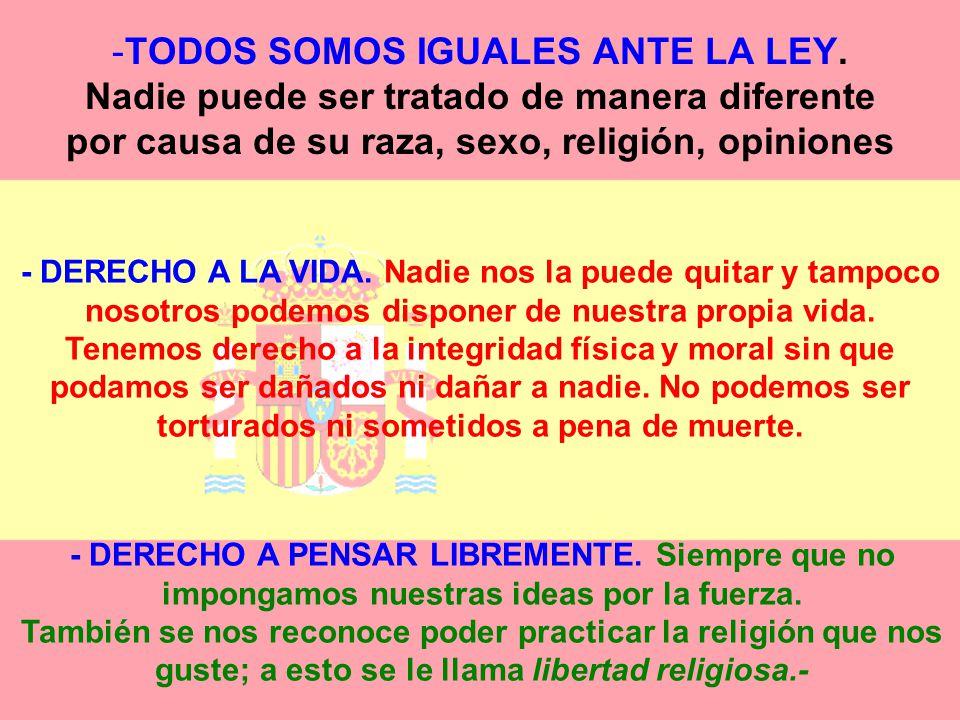 DERECHOS DE LOS ESPAÑOLES Todos los españoles tenemos unos derechos que nadie nos puede quitar. La Constitución Española defiende nuestros derechos y