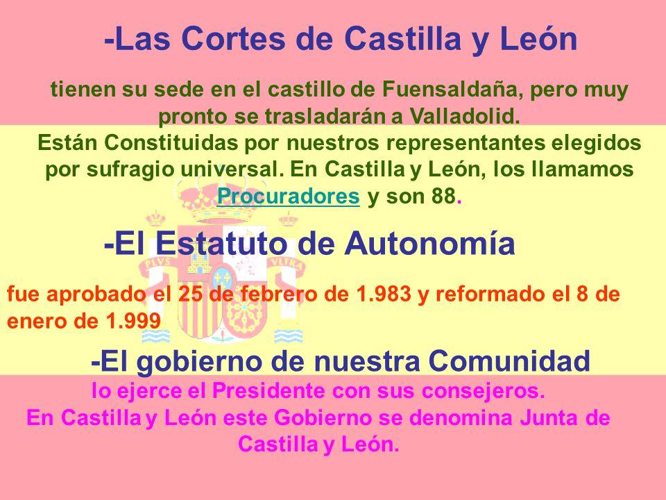 CASTILLA Y LEÓN El TERRITORIO PALENCIA,SORIA,ZAMORA SALAMANCA,ÁVILA,SEGOVIA LEÓN,BURGOS,VALLADOLID SÍMBOLOS BANDERA ESCUDO PENDÓN ESTATUTO DE AUTONOMÍ