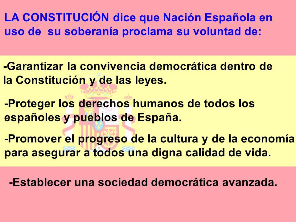 LA CONSTITUCIÓN dice que Nación Española en uso de su soberanía proclama su voluntad de: -Garantizar la convivencia democrática dentro de la Constitución y de las leyes.