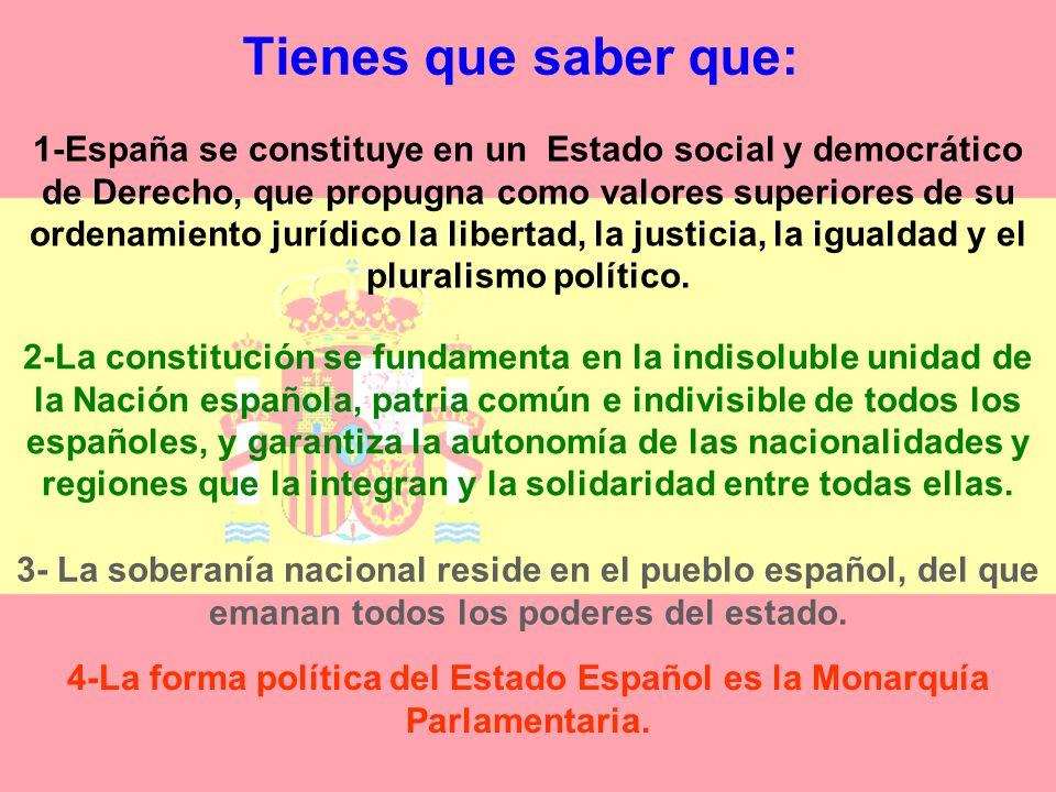 Tienes que saber que: 1-España se constituye en un Estado social y democrático de Derecho, que propugna como valores superiores de su ordenamiento jurídico la libertad, la justicia, la igualdad y el pluralismo político.