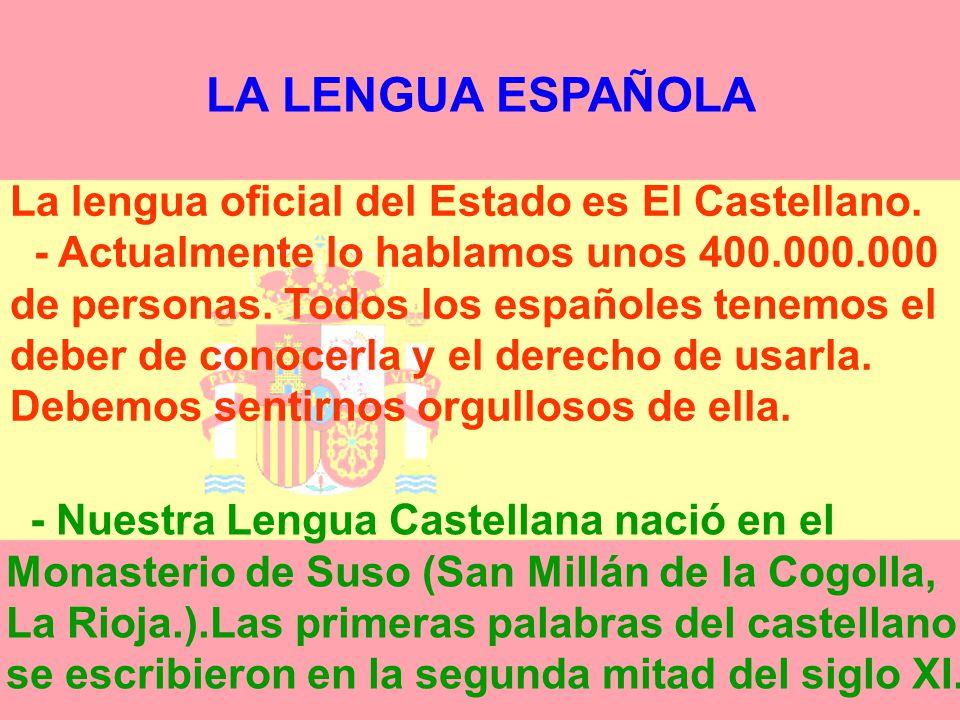 LOS SÍMBOLOS DE NUESTRA NACIÓN Son fundamentalmente: -La Lengua Española -La Bandera -El Escudo -El Himno Nacional.