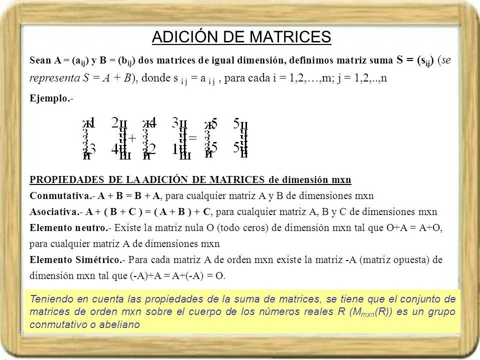 MULTIPLICACIÓN DE UNA MATRIZ POR UN NÚMERO Sean A = (a ij ) una matriz de dimensión mxn, y k un número real, la matriz que se obtiene al multiplicar k por A, es k.A = k.