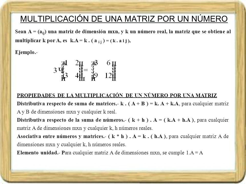 MULTIPLICACIÓN DE MATRICES Sean A = (a ij ) una matriz de orden mxn y B = (b jk ) una matriz de orden nxp, denominamos producto C = (c ij ) (se representa P = A.
