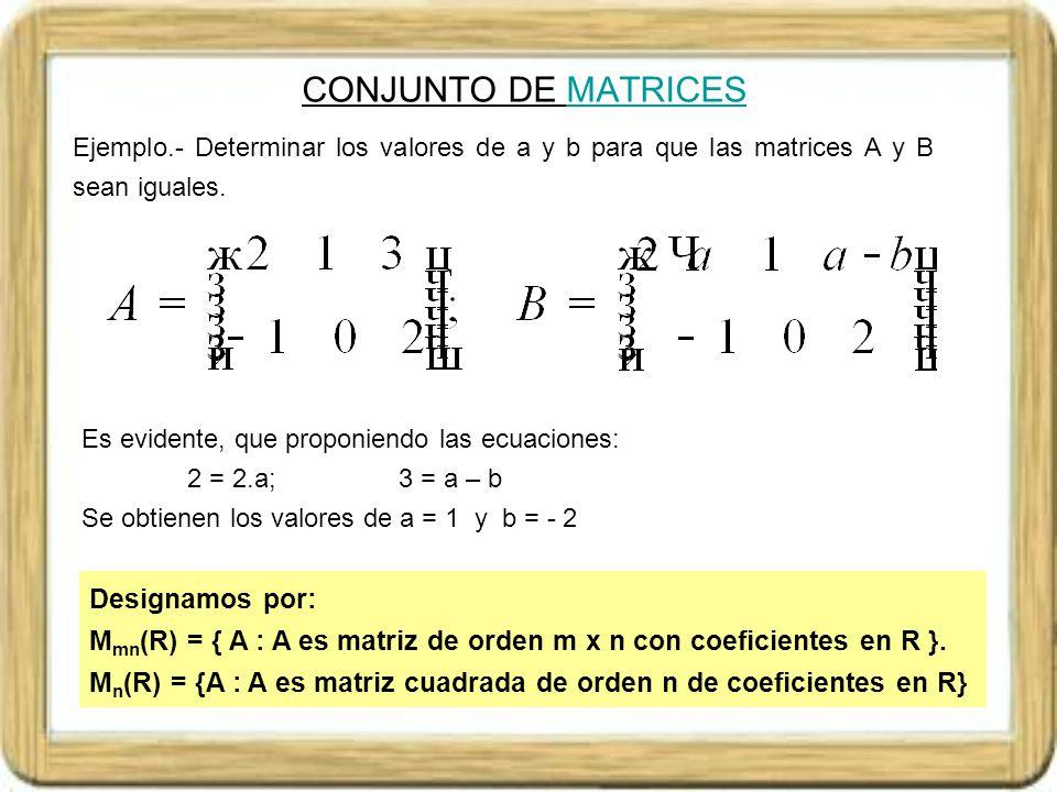 TIPOS DE MATRICESMATRICES Denominamos matriz fila a la matriz A de dimensiones 1xn (también denominado vector fila) Denominamos matriz columna a la matriz A de dimensiones mx1 (también denominado vector columna) Denominamos matriz escalonada a la matriz A de dimensiones mxn tal que cada fila en número de ceros que precede al primer elemento no nulo es mayor que la precedente