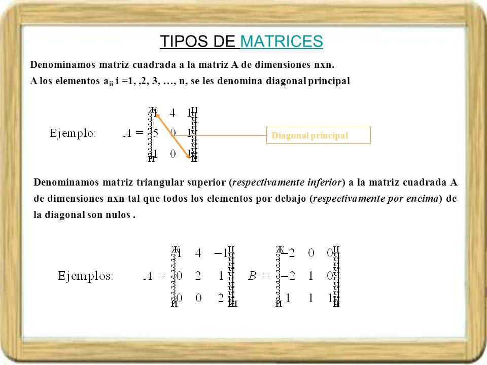 TIPOS DE MATRICESMATRICES Denominamos matriz diagonal a la matriz cuadrada A de dimensiones nxn, tal que todos los elementos distintos de la diagonal son nulos.