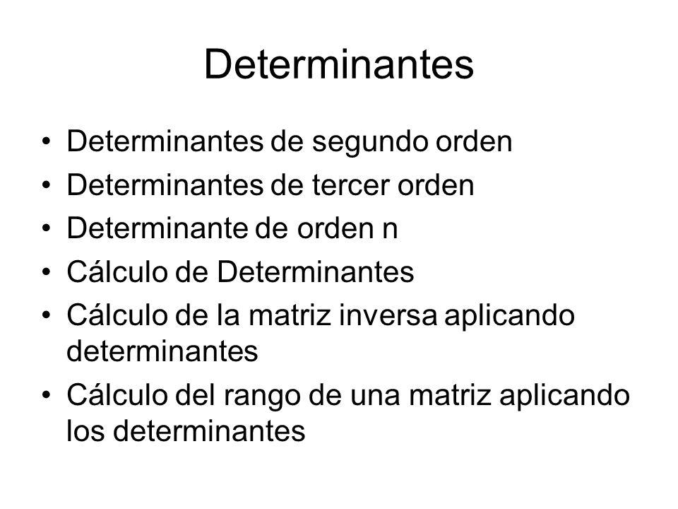 Determinantes Determinantes de segundo orden Determinantes de tercer orden Determinante de orden n Cálculo de Determinantes Cálculo de la matriz inversa aplicando determinantes Cálculo del rango de una matriz aplicando los determinantes
