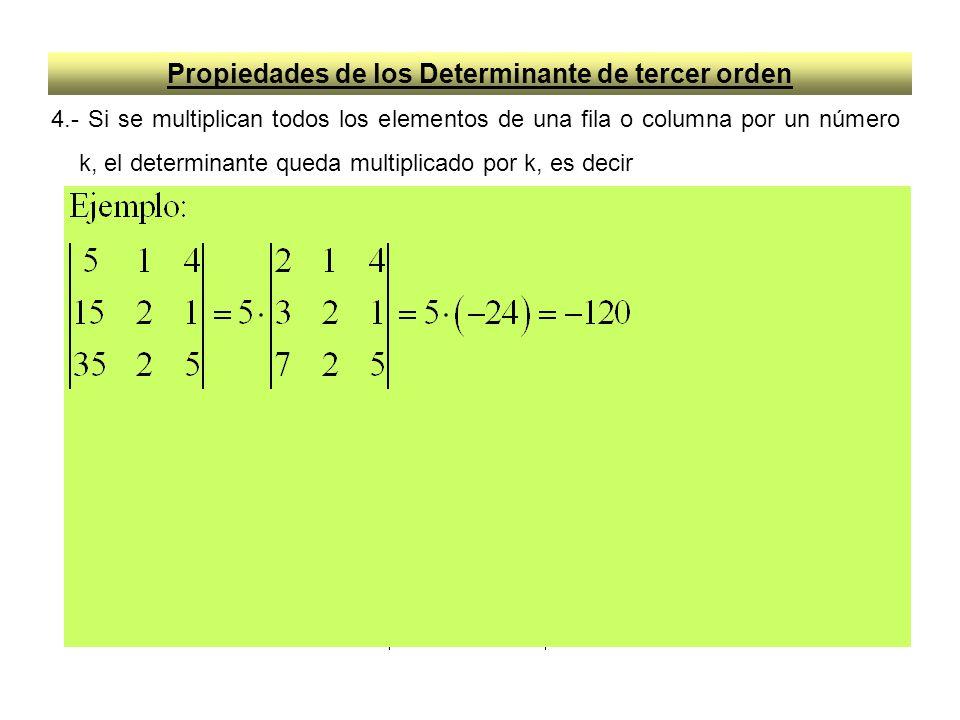 Propiedades de los Determinante de tercer orden 4.- Si se multiplican todos los elementos de una fila o columna por un número k, el determinante queda